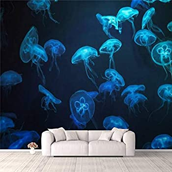 3D Wallpaper Jellyfish with neon Glow Light Effect Self Adhesive Bedroom Living Room Dormitory Decor Wall Mural Stick and Peel Background Wall Ceiling Wardrobe Sticker
