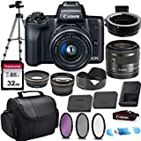 Canon EOS M50 Mirrorless Digital Camera (Black) & 15-45mm STM Lens w/EOS M Mount Adapter + 32GB Transcend Memory Card, Shoulder Bag & Commander Optics Accessory Bundle