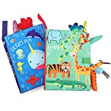 BelleStyle Baby Cloth Books, 2Pcs Quiet Book, Baby Toys 0-6 Months, 3D Books Fabric Tail Games...