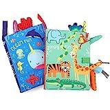BelleStyle Juguetes Bebes 1 Año, Libro Bebe, 2 PCS Libros de Tela para Bebé Animales Activity Libros Blandos, 3D Tail Cloth Book, Juguetes de Juegos de Educación Temprana Libro de Cognición