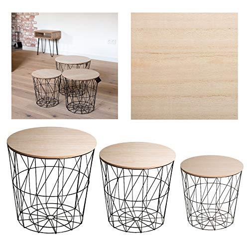 Unbekannt 3 Körbe Korb Metall schwarz Beistell Couch Tisch abnehmbare Platte hell braun Dekokorb