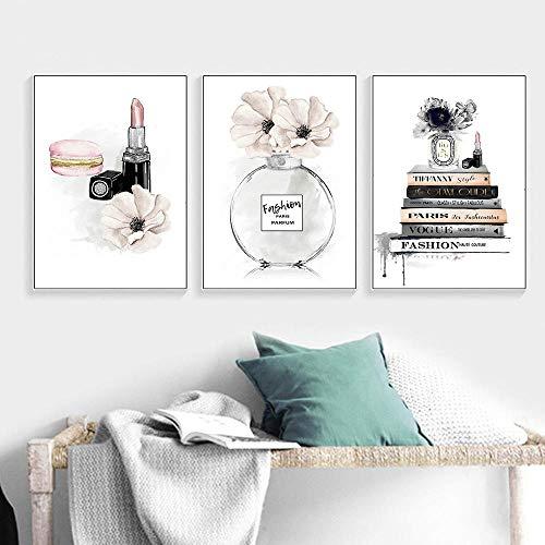 YDGG Perfume Carteles Impresiones Moda Lápiz Labial Maquillaje Lienzo Cartel Vogue Imprimir Pintura Cuadros de Pared Decoración para el hogar-50x70cmx3 Piezas sin Marco