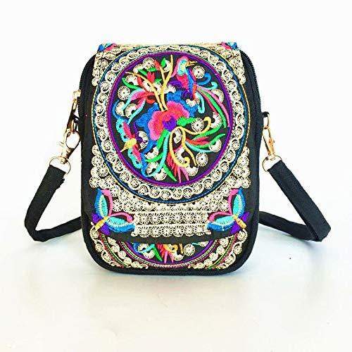 Coollooda Mini Crossbody Tasche bestickte Taschen Handtasche ethnische Stammes-Messenger Tote Bag Schulter getragen Schulter Frauen Color 19 * 12 * 4cm