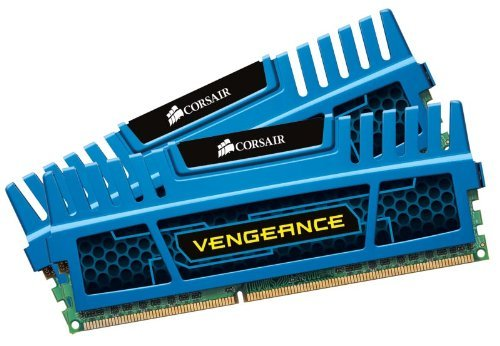 Corsair Vengeance Memoria RAM, 8 GB, 2x4 GB, DDR3, 240-pin DIMM, PC3-12800, 1600 MHz, con Supporto XMP 1.3, Blu (Blue)
