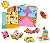 Ototon Papel Origami 54 hojas 27 modelos coche casa barco doble cara con manual pedagógico para niños, regalo creativo