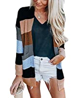Womens Long Sleeve Casual Striped Cardigan Color Block Knit Open Front Sweater Coat Black