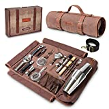Barillio Bartender Bag Travel Bartender Kit Bag with Bar Tools | Professional 17-Piece Bar Tool Set with Portable Waxed Canvas Bag Including Shoulder Strap for Easy Carry | Travel Cocktail Set……
