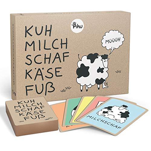 Pihu - Kuhmilchschafkäsefuß - Das Flotte Kartenspiel mit dem witzigen Kuhmilchschaf - Spiel ab 6 Jahren für Kinder und Familien - Konzentrationsspiel