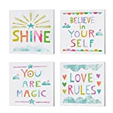 Four Ready to Hang Pieces of Canvas Art Gallery Wrap Canvas with UV protective coating over the entire image 10 X 10 inches, 0.75 inches deep Unicorn Magic III, IV, V & VI Blue by Melissa Averinos Custom made for you in the USA - 100% Satisfaction Gu...