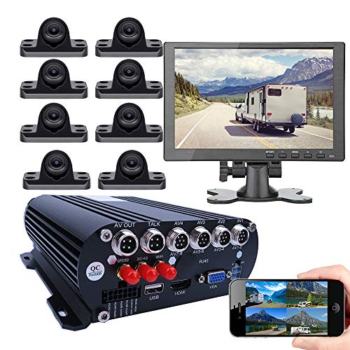 """JOINLGO 8-CH Mobile DVR Backup Camera System 10"""" HDMI/VGA Remote Monitor on PC Phone GPS WiFi 4G 1080P AHD Vehicle Car DVR MDVR Video Recorder with Mini Large View Angle Car Cameras for Truck/RV/Bus"""