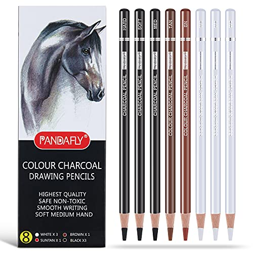 PANDAFLY Professional Colour Charcoal Pencils Drawing Set, 8 Pieces Pastel Chalk Pencils for Sketching, Shading, Blending, Portrait, Highlight White Pencils for Beginners & Artists