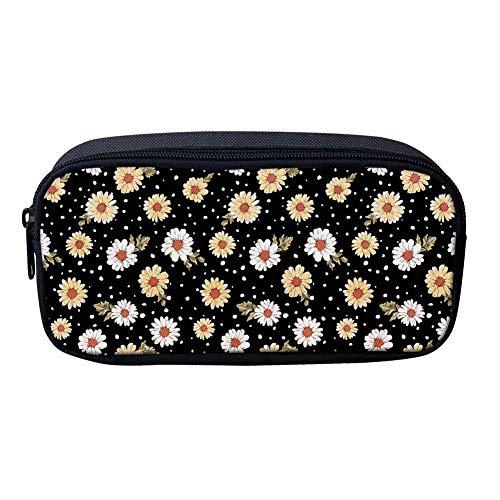 Daisy Flowers Print Women Girl Big Pencil Cases Suministros escolares Pequeños cosméticos Maquillaje bolsa de pluma bolsa