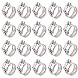 ISPINNER 20pcs Stainless Steel Adjustable 13-19mm Size Range Worm Gear Hose Clamp, Fuel Line Clamp for Plumbing, Automotive and Mechanical Application
