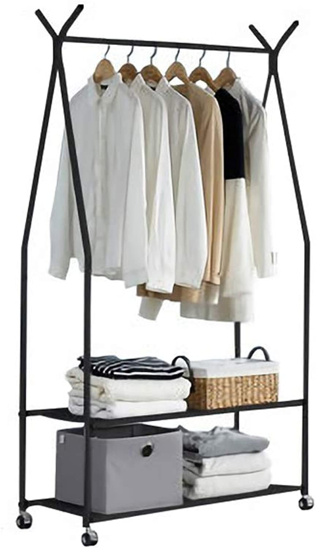 2-Tier Entrance Hall Coat Rack Organiser Metal Multi-Purpose Storage shoes Bench Stand Top Rod 4 Hooks Home Office Hallway Bedroom Max Load Capacity 30kg 66.1lbs (color   Black)
