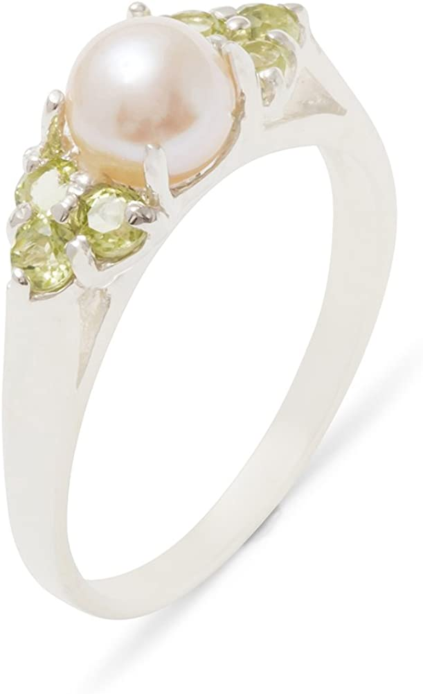 925 Sterling Silver Cultured Pearl Peridot Inexpensive Anni Cluster Womens Max 77% OFF