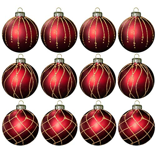 Juego de 12 bolas de Navidad Ø8cm Cristal rojo /...