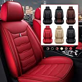 Car Seat Cover Fit for BMW 3 Series 318i 320i 325i 330i 335i Faux Leather Front Rear 5-seat Covers Non-Slip Waterproof Standard Edition (Red)