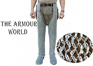 THE ARMOUR WORLD Chainmail Leggings 9mm Round Riveted Chainmail Chausses Galvanized Leg Cowboy Costume Legs