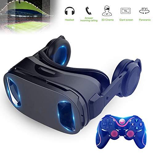 HUA JIE VR Gafas de Realidad Virtual para iPhone y Android con Pantallas de 4,5-6,5' y Auriculares, Funciona Perfectamente con teléfonos Inteligentes de tamaño máximo, Lentes Ajustables de Calidad HD