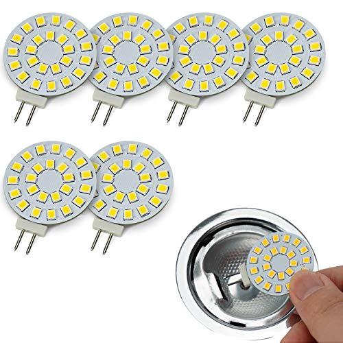 JAUHOFOGEI 6er G4 rund LED Lampen Kaltweiss, 1.8w ersetzt 20w Halogen Glühbirne, 12V AC/ 10-30V DC, Leuchtmittel G4 für Unterbauleuchte Einbaustrahler Möbeleinbauleuchte Deckenleuchte