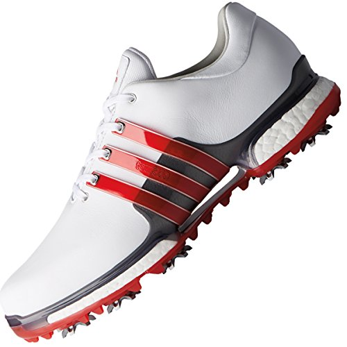 adidas Men's Tour 360 Boost 2.0 Golf Shoes, White (White/Red F33790), 7.5 UK