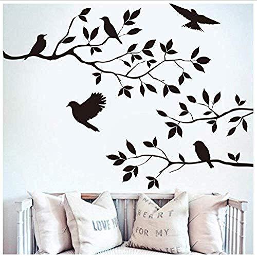 Muursticker Vogel op de kerstboom, PVC, voor woonkamer, slaapkamer, huis, ramen, badkamer, kantoor, slaapzaal, winkel, decoratie, 35 x 60 cm