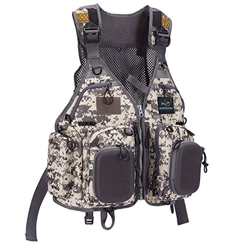 Bassdash Fly Fishing Vest Multi Pocket Waistcoat Adjustable Size Gifts for Men Women (F22 - Grey Camo)