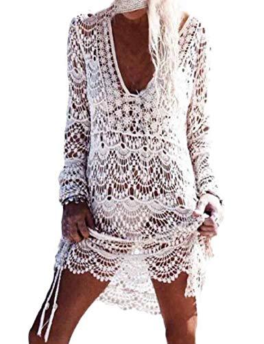 heekpek Mujer Pareos Playa Traje de Baño Vestido de la Playa Bikini Cover up Camisola de Playa Larga Mangas V-Cuello Hueco Borlas Vestido de Kaftan Crochet Pareos