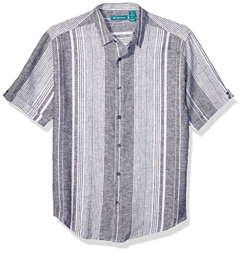 Cubavera Men's Yarn Dye Textured Stripe Shirt, Jet Black, X Large