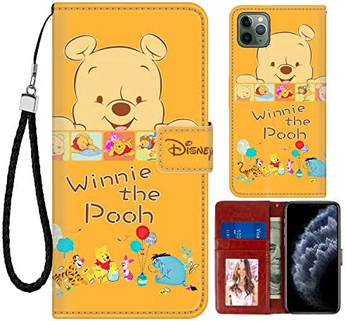 DISNEY COLLECTION iPhone 11 Pro Max Case Wallet Case Winnie The Pooh Design Magnetic Closure [Stand Feature] Folio Flip Cover with Card Holder and Wrist Strap Protective Shell