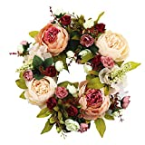 SogYupk Spring Flower Wreath, 30 CM Summer Flower Wreath Decoration with Artificial Flower for Front Door, Home, Window, Wall, Wedding, Party Decoration Green/Red/Pink