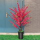 EVFIT Decoración de Flores Boda Flor de Durazno Árbol Sala Pavimento Decoración Grande de Plantas en Maceta Disposición Fotografía Árbol de los Deseos (Color : Red, Size : One Size)