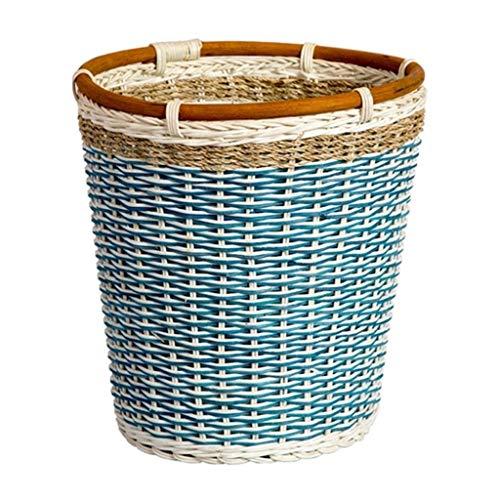NYKK Beistelltisch Geflochtener Korb Mülleimer, runder Mülleimer, Badezimmer Küche Büro, 10L Fassungsvermögen (blau) Side Table