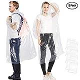 Songwin Portable Einweg-Regenmantel klar und transparent,Regenponcho mit Kapuze und Ärmeln...