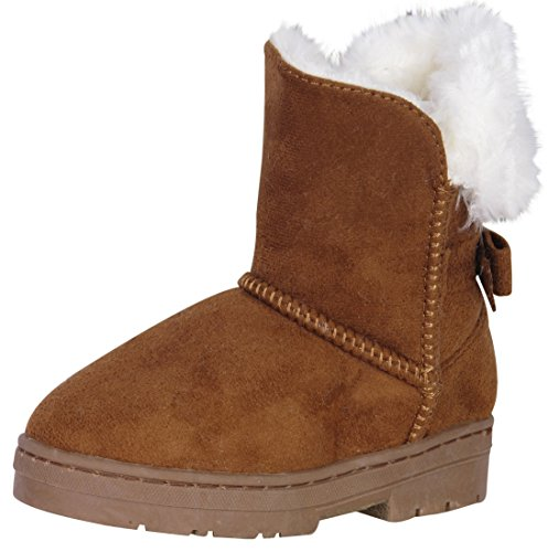 bebe Girls' Faux Fur Lined Winter Boots with Back Bow, Cognac, Size 1'