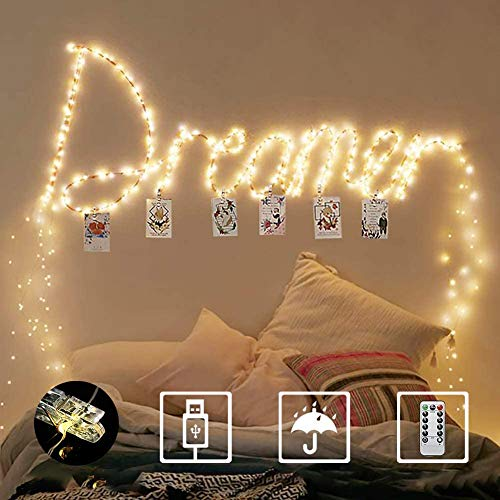 Homemory Fairy Lights with 50 Clear Clips, 33FT 100 LEDs Photo Clips String Lights, USB Powered Fairy Lights with Remote, for Hanging Pictures, Weddings, Parties, Wall Decorations