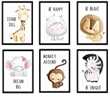 WIETRE® 6er Set Bilder Tiere Kinderzimmer Babyzimmer Deko | Bild Junge Mädchen Poster DIN A4 | Waldtiere Safari Afrika Tiere Tierposter Dekoration (mit schwarzen Rahmen)