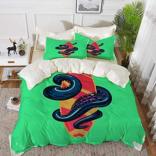 Lyyeaz Juego de ropa de cama Oster con tabla de surf, funda de edredón de microfibra de 135 x 200 cm con 2 fundas de almohada de 50 x 80 cm