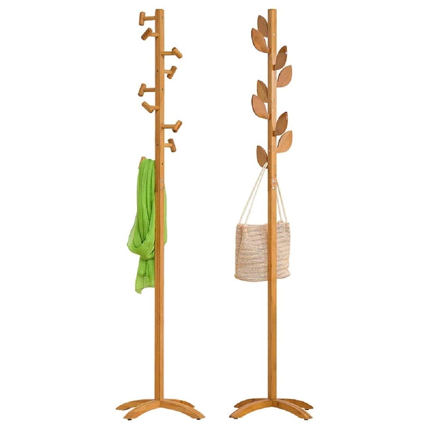 預言者却下するご飯コートラック 床の寝室のシンプルなハンガーウッドラックシンプルなモダンな単極 傘立て付きフロアキャップとコートラック (色 : Wood, パターン : A)