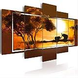 Lona 5 Pedazos De Lona Impresión Moderna Manera Del Arte De La Pared Del África Animales Jirafas Y Elefantes For La Decoración Del Hogar (Color : C, Size : 40X60 40X80 40X100CM)