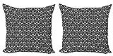 ABAKUHAUS Victoriano Set de 2 Fundas para Cojín, Remolinos Floral Antiguo, con Estampado en Ambos Lados con Cremallera, 45 cm x 45 cm, En Blanco y Negro