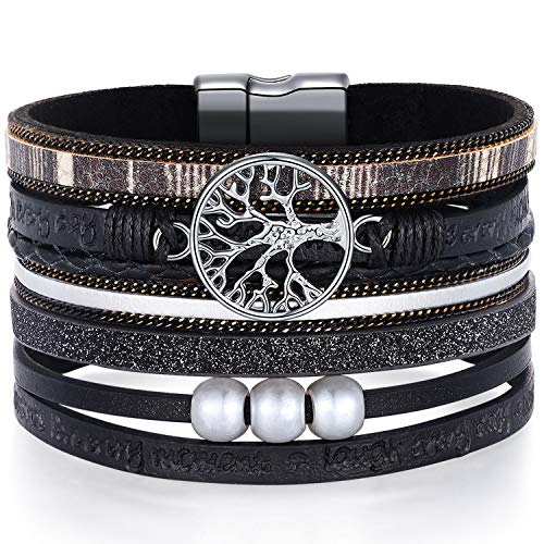 Wrap Around Bracelets for Women Family Boho Buckle Stacking Multilayer Leather Wide Magnetic Layered Bracelet Tree of Life Bracelets for Women Mom Teen Girls Grandma