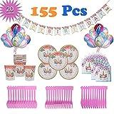 VCOSTORE Juego de Suministros de Fiesta de Unicornio para niños, 155 Piezas Kit Completo...