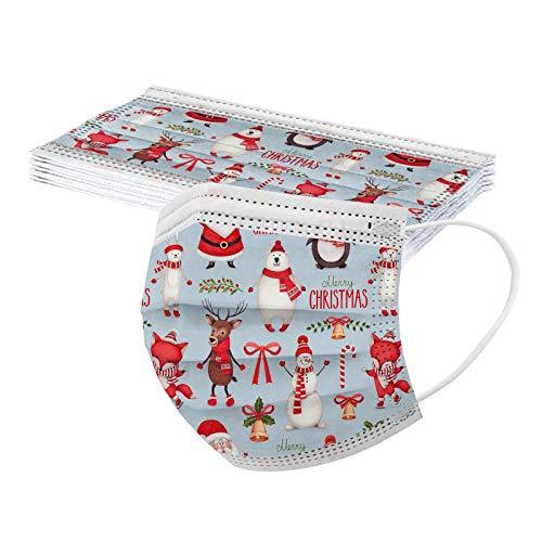 Rovinci 10 Stück Einmal-Mundschutz Weihnachten Muster 3-Lagig Mund und Nasenschutz Staubschutz Atmungsaktive Weihnachtsmotiv Sport Bandana Bedeckung Halstuch Schals für Damen Männer