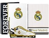 Real Madrid FC Juego de Regalo de Papelería, Set de Regalo de Fútbol para Niños, Contiene Cuaderno A4 (80 páginas), Carpeta y Estuche, Regalo para Niños!