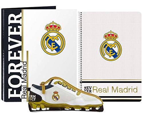 Real Madrid FC Schreibwaren Geschenkset, Fußball-Geschenkset für Kinder, Enthält A4-Notizbuch (80 Seiten), Ordner und Federmäppchen, Geschenk für Jungen!