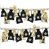 PITCHBLA Bolsas de Lino navideñas, Calendario de Adviento para llenar 2020, 24 días Dorado y Negro, Calendario de Cuenta Regresiva, Bolsa con cordón, Bolsa Colgante con Pegatinas de Estrellas