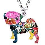 BONSNY Love Heart Enamel Zinc Alloy Metal Pug Dog Necklace Bulldog Animal Pendant 18' (Multicolor)