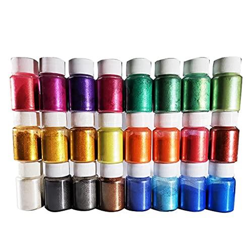 JIUYECAO Colorido polvo de perlas (al final, polvo de mica-24 perlas de suministro de pigmentos de color para maquillaje/brillo labial/fabricación de jabón/colorante epoxi/colorante de bricolaje