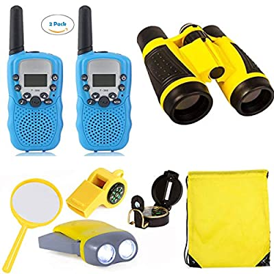 BESWIN Outdoor Adventure Kit for Kids, 2 Packs Walkie Talkies for Kids with 3KM Long Rang/ Binoculars for Kids/ Flashlight/ Compass/ Exploration Toy Gifts for Boys and Girls by BESWIN